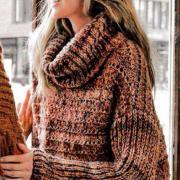 Как связать спицами свитер оверсайз с большим воротником