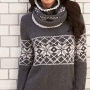 Как связать спицами свитер и снуд с жаккардовым узором