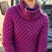 Как связать спицами свитер с сотами и широкой резинкой