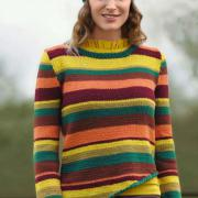 Как связать спицами свитер в полоску и шапочка в тон