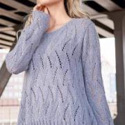 Как связать спицами свободный ажурный пуловер с пайетками