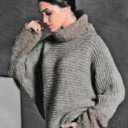 Как связать спицами свободный пуловер с рукавом летучая мышь и митенки