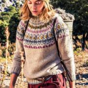Как связать спицами теплый свитер с жаккардовой кокеткой