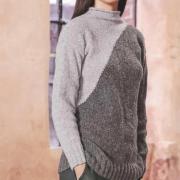 Как связать спицами удлиненный двухцветный пуловер с диагональным рисунком