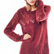 Как связать спицами удлиненный свободный  пуловер с ажурным узором