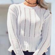 Как связать спицами укороченный пуловер с баской