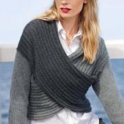 Как связать спицами укороченный пуловер с перекрещенными полочками