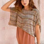 Как связать спицами укороченный пуловер-пончо с вытянутыми петлями