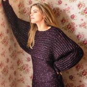 Как связать спицами укороченный пуловер с рукавом летучая мышь патентным узором