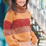 Как связать спицами укороченный свитер с широкой полоской