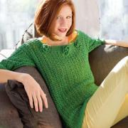 Как связать спицами зеленый пуловер с цветами