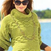 Как связать спицами зеленый пуловер с высоким воротником