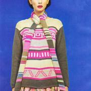 Как связать спицами жаккардовый пуловер и шарф
