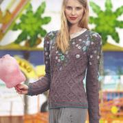Как связать спицами женский джемпер с цветочным рисунком