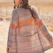 Как связать спицами трехцветный полосатый жакет с поясом
