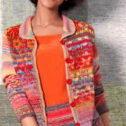 Как связать спицами жакет с круглым воротничком и юбка с цветным узором