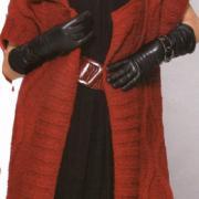 Как связать спицами длинный красный жилет
