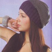 Как связать спицами двухцветная шапка-носок
