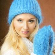 Как связать спицами голубая шапочка в комплекте с варежками