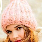 Как связать спицами объемная шапка с помпоном