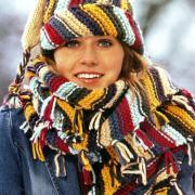 Как связать спицами полосатые шапка и шарф