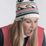 Как связать спицами шапка с цветным рисунком