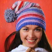 Как связать спицами шапка-колпак с помпоном