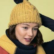 Как связать спицами шапка с косой и отворотом