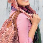Как связать спицами шапка с ушками и помпоном и сумка к ней