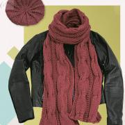 Как связать спицами берет и шарфик с косами
