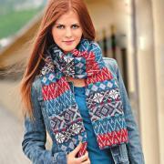 Как связать спицами длинный шарф с жаккардовым узором