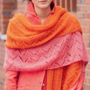 Как связать спицами двухслойная ажурная шаль- платок
