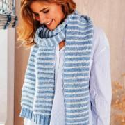 Как связать спицами нежный полосатый шарф