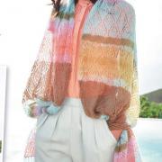 Как связать спицами разноцветный ажурный палантин с ромбами с бахромой