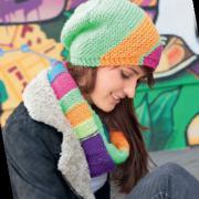 Как связать спицами разноцветный шарф-снуд