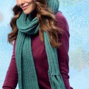 Как связать спицами шапочка бини и длинный шарф с кистями