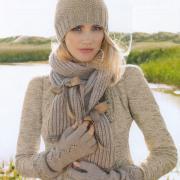 Как связать спицами шапочка, шарфик и митенки с узором