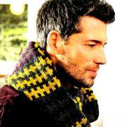 Как связать спицами шарф для мужчины с жаккардовым узором