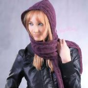 Как связать спицами шарф капюшон с узором из кос