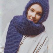 Как связать спицами шарф с капюшоном