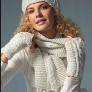 Как связать спицами шарф с помпонами, шапочка и варежки