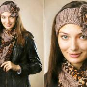 Как связать спицами шарф и повязка на голову с цветком
