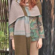 Как связать спицами широкий шарф-палантин в полоску