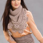 Как связать спицами треугольный шарф с кружевной каймой