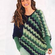 Как связать спицами асимметричный пуловер-пончо