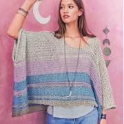 Как связать спицами разноцветный пуловер-пончо