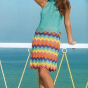 Как связать спицами полосатая юбка до колена