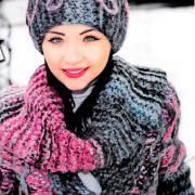 Как связать спицами объемное пальто в комплекте с шапкой, муфтой и шарфиком