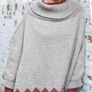 Как связать спицами платье-пончо с цветным узором по низу
