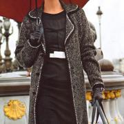 Как связать спицами серое пальто с лацканами